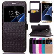 New Flip Leather View Window Wallet Card Holder Stand Case For Samsung & iPhone