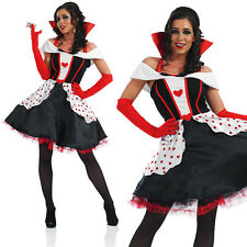 Ladies Sexy Longer Length Queen Of Hearts Fancy Dress Costume Outfit UK 8-30
