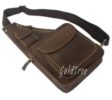Vintage Crazy horse Leather Shoulder bag Leather men messenger bag Men