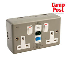 Europa RCD13AMC METALCLAD RCD Twin Double 2 Gang Socket SWITCHED 13amp 30mA