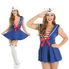Ladies Sexy Sailor Girl Fancy Dress Costume Navy Military Uniform Outfit UK 8-30