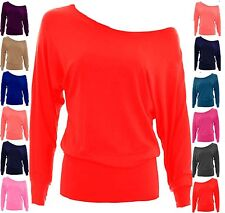 WOMENS ONE OFF SHOULDER BATWING SLEEVE SLOUCHY SEX T-SHIRT TOP-UK SIZES 8-26 btw