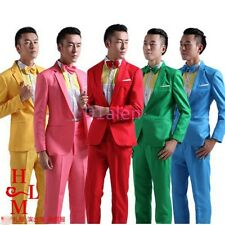 Mens One Button Slim Fit Coats Wedding Costumes Dance Blazer Suits Jackets&Pants