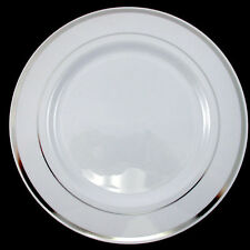 Wedding Party Disposable Plastic Dinnerware Plates round plates w/silver rim 9""