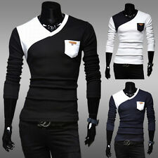 Men's Long Sleeve Primer T-Shirt V-Neck Slim Fit Casual Shirt Pullover Tops