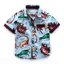 Cute dinosaur print boys shirt 2016 summer style baby boy clothing casual blouse