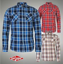 New Mens Designer Lee Cooper Harlington Long Sleeve Check Shirt Top Size S-XXL