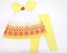 Nannette Girls 2-Piece Yellow Short Sleeve Dress Legging Outfit Kids Size 5 6