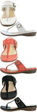 Ladies GLUV Leather Mule Sandals Toe Post Barcelona in Black White Coral
