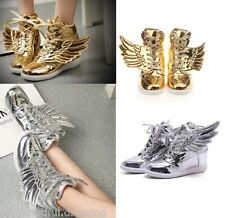 MW008412 - FASHION HIGH TOP LACE UP SNEAKERS WITH ANGEL WINGS