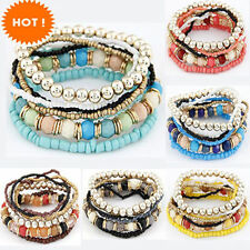 Fashion Retro Bohemia Style Multilayer strand Beaded Stretch Bracelet