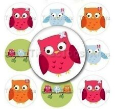 Owls Edible Cupcake Toppers Decoration