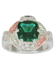 Black Hills Gold Helenite ring womens emerald Mt St Helens obsidianite on silver