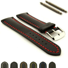 Mens Heavy Padded Genuine Leather Watch Strap Band Canyon SS Buckle Spring Bars