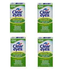 Clear Eyes Maximum Itchy Eye Relief Eye Drops Lubricant Redness Reliever 4 Pack