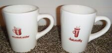 """Williams Sonoma Set of (2) MULLED CIDER & HOT TODDY White/Red Coffee MUGS 4"""""""