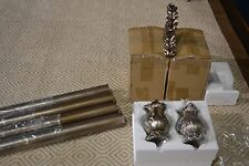 "JCP home SILVER/GOLD DECORATIVE WOOD ROD & FINIALS SET 2"" DIAMETER"