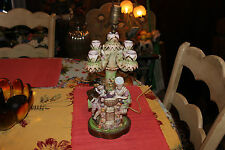 Antique Majolica Candelabra Table Lamp-Man Woman Courting-Colorful Flowers