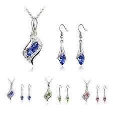 Fashion Austria Swarovski Crystal Teardrop Earrings Pendant Necklace Element Set