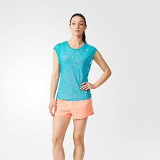 Adidas Run SS Layer Womens Blue Sand Climalite Short Sleeve Running Top