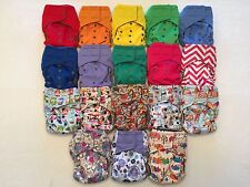15 Velcro Happy Flute One Size All-In-One Charcoal Bamboo Cloth Diaper.10-40lbs