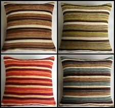 "SPARKLE CHENILLE STRIPE CUSHION COVERS 17"" X 17"" IN 4 COLOURS"