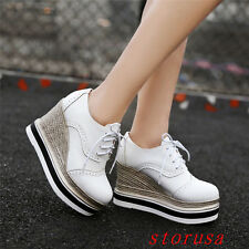 Girls High Wedge Heel Lace Up Casual Shoes Platform Street Loafers New Size Punk
