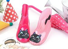 Adorable Kids Girls Lovely Cats Waterproof Rain Boots - Hot Pink, Check Pink