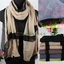 Fashion Women's 2-Tone Color Cotton Stitching Chiffon Long Scarf Wrap Shawl New