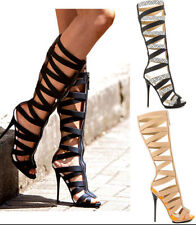 US size womens Gladiator sandals high heels knee high boots hollow out Peeptoe
