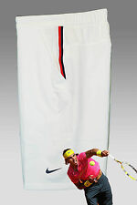 New Nike Mens Dri Fit Stay Cool TENNIS SHORTS White Red / Navy Trim