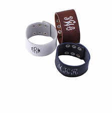 Personalized Embroidered Monogrammed Leather Cuff Bracelet Wide Custom Gift