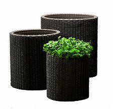Planters Outdoor Set of 3 Wicker Rattan Decor Patio Flower Plant Pots Garden New