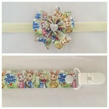 Peter Rabbit dummy clip headband hair combo bow party photo prop girls newborn