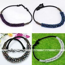 Faceted Rondelle Crystal Glass Bead Black Chain Rope Woven Necklace Jewelry Gift