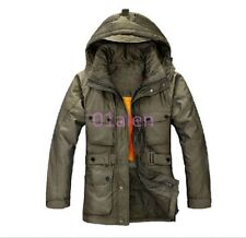 Men's Duck Down Hoodie Warm Jacket Winter Long Parka Overcoat Clothes Army Green