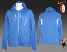 New NIKE Plus + Ventilated Full Zip RUNNING Hoodie JACKET DriFit Blue M