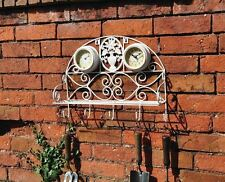 Vintage White Garden Shelf Clock With Thermometer and Tool Hooks Shabby Chic NEW