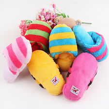 Dog Toy Pet Puppy Chew Play Squeaky Squeaker Cute Sound Plush Slipper Shape LA
