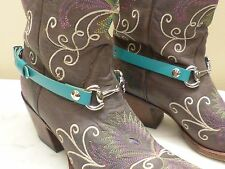 """Pair Leather Western / Cowboy Boots Embellishments """"NO SPURS""""™ with Snaffle Bit"""