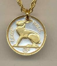 New J&J Coin Jewelry Ireland 3 pence (Rabbit) 24K Gold/Silver Necklace.