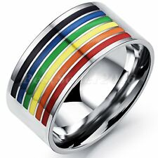 Gay Lesbian LGBT Pride Stainless Steel Rainbow Striped Ring Band Size 7-12
