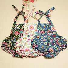 100% Cotton Ruffle Romper Girls Clothes Infant Sundress Vine Flower Baby Rompers
