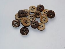 lot new 12 Real Vegan Natural Coconut Shell Buttons sizes 7/16,1/2, 5/8,3/4  #NC