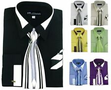 Men's French Cuff Dress Shirt with Tie and Handkerchief #34 Blue Gold White