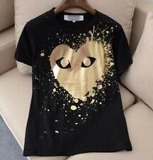 Unisex Japan style CDG Tee Play Giant Golden Heart Comme Des Garcons T-shirts