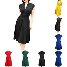 Women's Vintage Retro Style 1950s Rockabilly V-Neck Ruched Evening Swing Dress