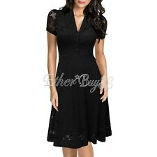 Women's Short Sleeve 1950s Style Vintage Lace A-line Cocktail Swing Party Dress