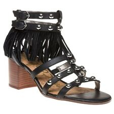New Womens Sam Edelman Black Shaelynn Leather Sandals Gladiators Buckle Straps