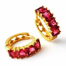 Yellow gold filled clear CZ/Red Ruby Fashion Womens Girls cute Hoop Earrings lot